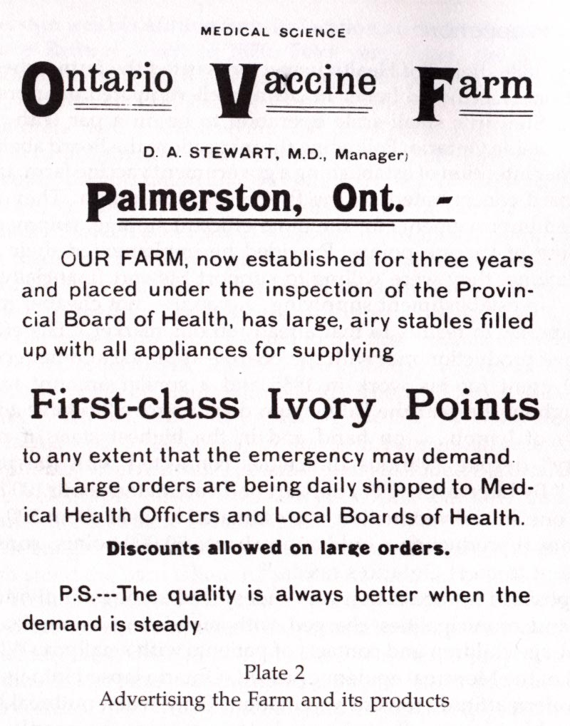 Medical journal advertisement for the Ontario Vaccine Farm, c. 1888.