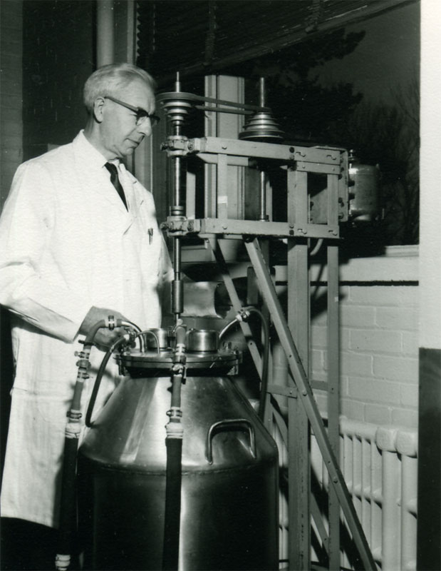 Dr. James Malcolm Corkill (1907-1993) joined Connaught in 1936 after completing his Ph.D. from the University of Toronto, his initial work focused on the production of various types of immune sera and antitoxins. He then oversaw Connaught's bacterial vaccines production and played a major role in the development of combined vaccines.