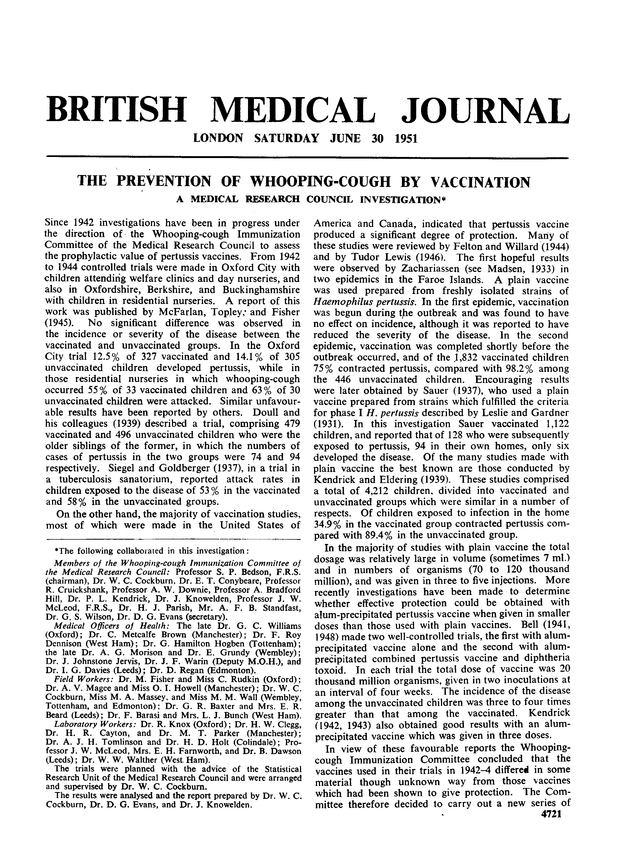 First page of the U.K. Medical Research Council's seminal report on its investigation of pertussis vaccines, published in the British Medical Journal, June 30, 1951. The article is available at https://www.ncbi.nlm.nih.gov/pmc/articles/PMC2069253/