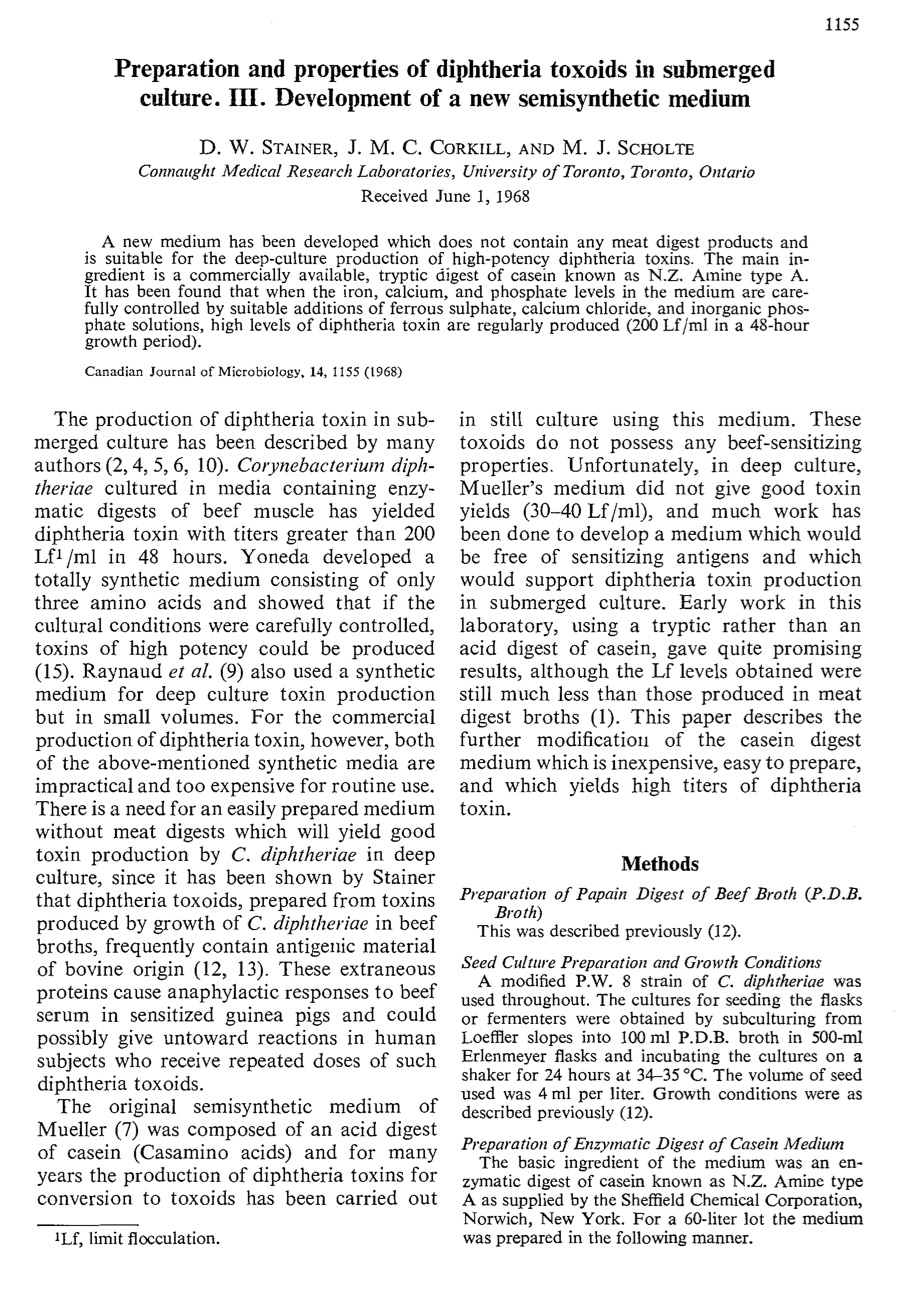 First page of the seminal article on Connaught's diphtheria toxoid synthetic media by D.W. Stainer, J.M. Corkill and M.J. Scholte, published in 1968. The full article is available at: http://www.nrcresearchpress.com/doi/abs/10.1139/m68-193#.XC5Ygc9KiRt