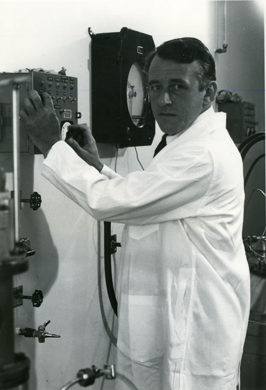 Dr. Dennis W. Stainer would later oversee Connaught's Bacterial Vaccines Department, and would also be closely involved in the design of the fermenters used in the large-scale production of diphtheria toxoid, tetanus toxoid and pertussis vaccine.