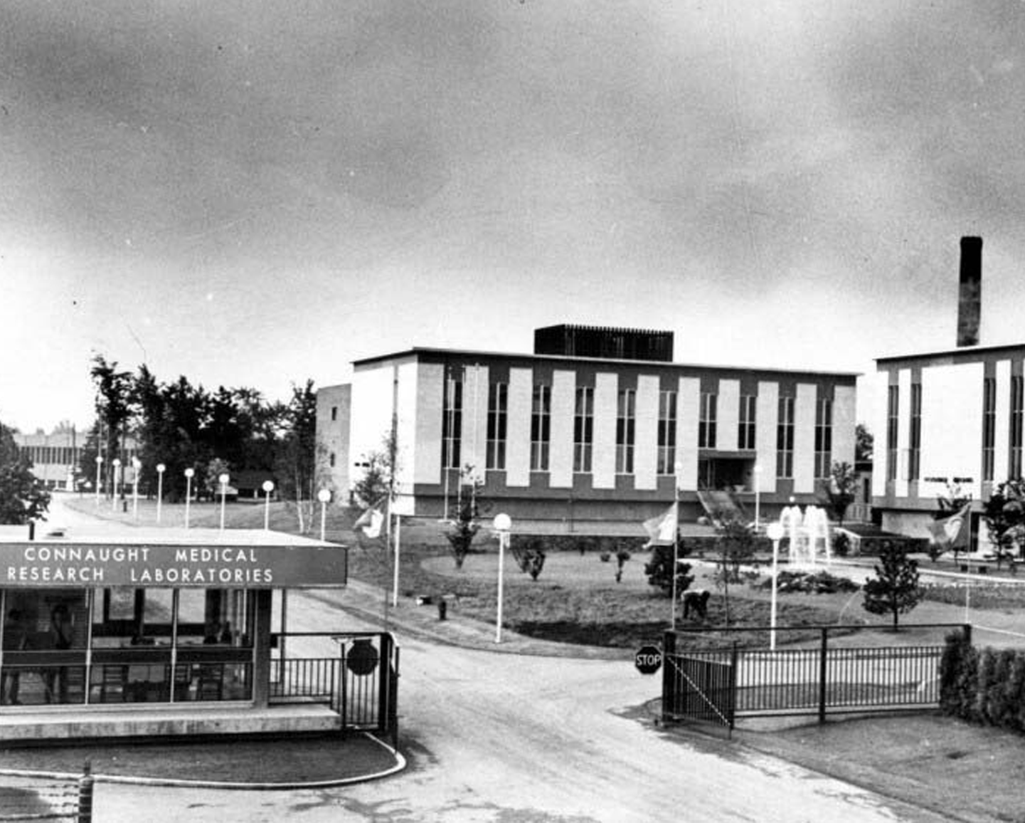 By the end of the end of the 1960s, all of Connaught's research, production, testing, filling, and administrative facilities were located at the Labs' Dufferin Division on Steeles Avenue West, the main entrance to which included a new Guardhouse.