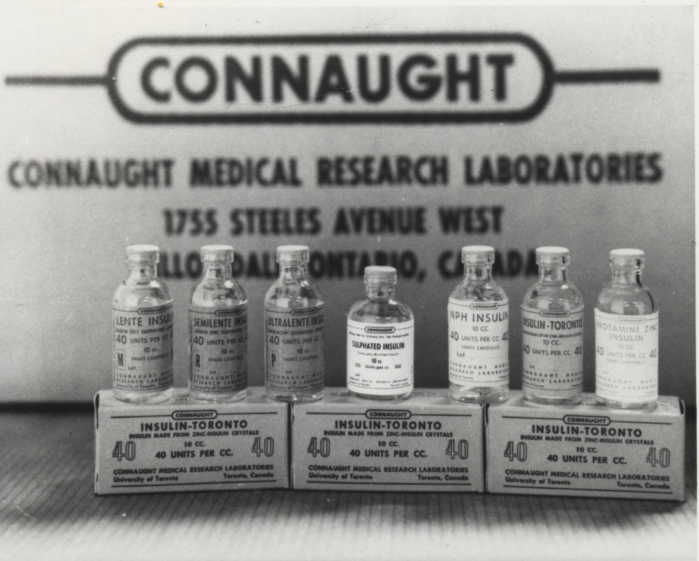 Sulphated Insulin is placed at the centre of Connaught's family of insulin products in this promotional photo from the late 1960s.
