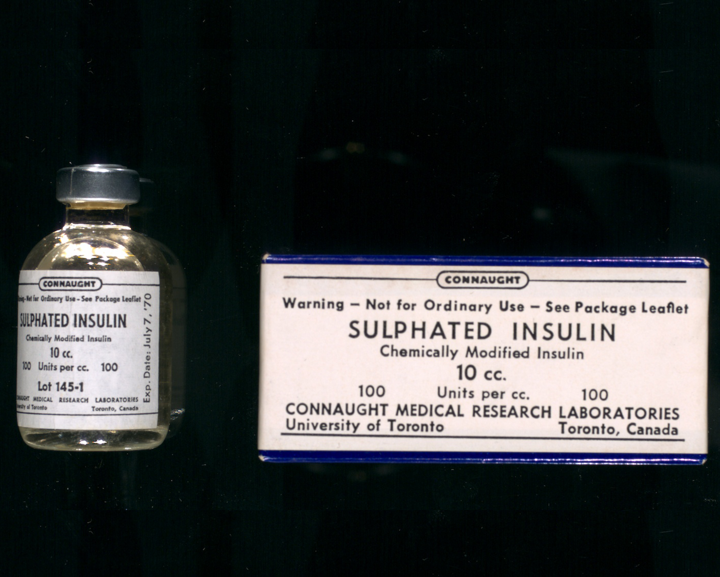 Vial and package of Sulphated Insulin, prepared by Connaught Medical Research Laboratories, with a July 1970 expiry date.