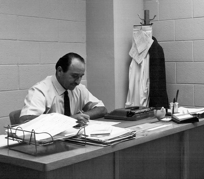Dr. Paul Fenje (1915-2010) at his desk at Connaught Medical Research Laboratories in 1966. The focus of Fenje's work during the 1960s was split primarily between rabies and smallpox vaccines research, development and production.