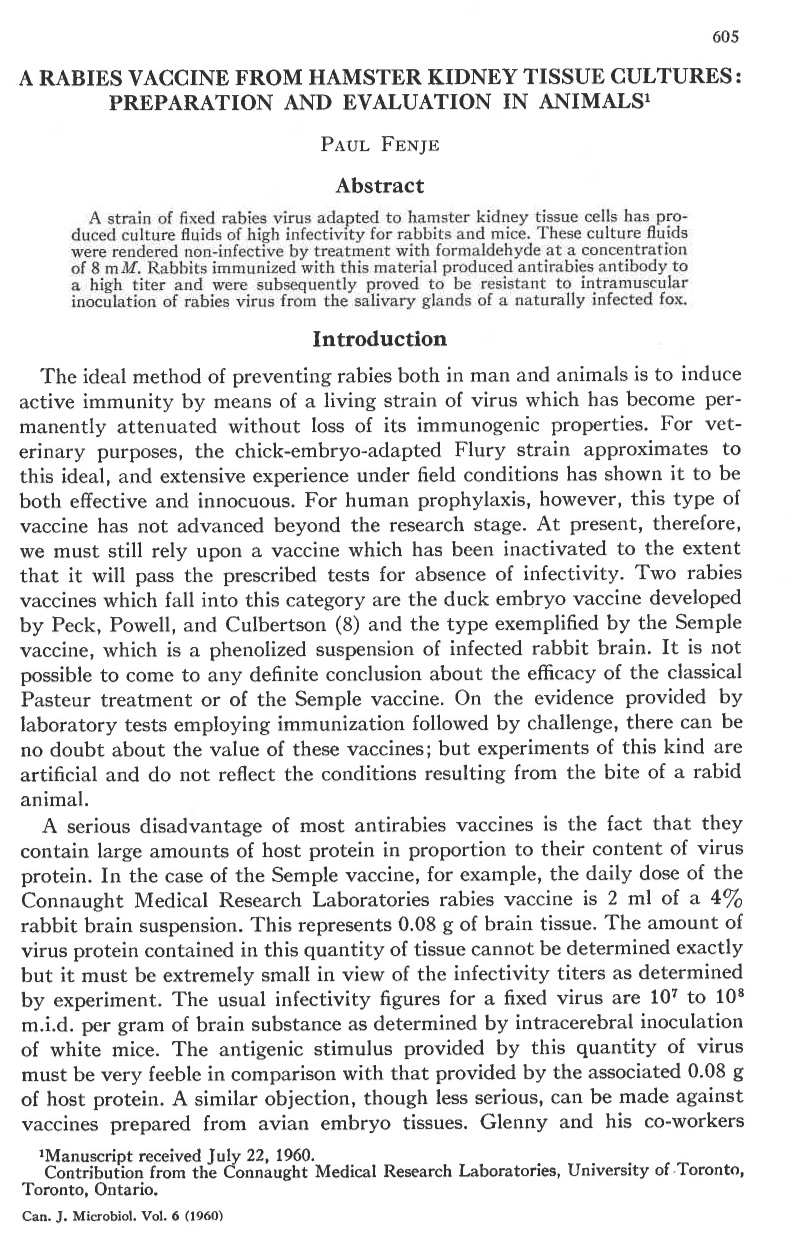 "First page of Dr. Fenje's seminal article, ""A Rabies Vaccine From Hamster Kidney Tissue Cultures: Preparation and Evaluation in Animals,"" published in December 1960 in Canadian Journal of Microbiology; the full article is available at http://www.nrcresearchpress.com/doi/10.1139/m60-072"