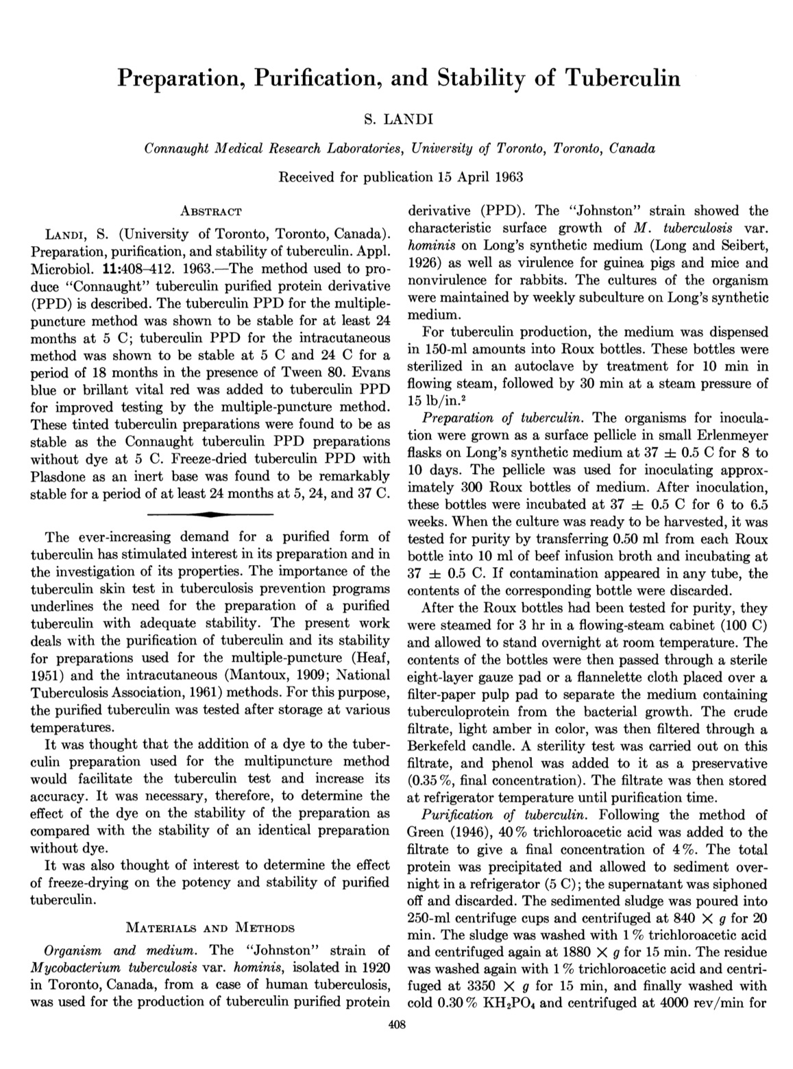 First page of Dr. Silvio Landi's seminal article on tuberculin preparation, purification and stability, published in the September 1963 issue of Applied Microbiology.