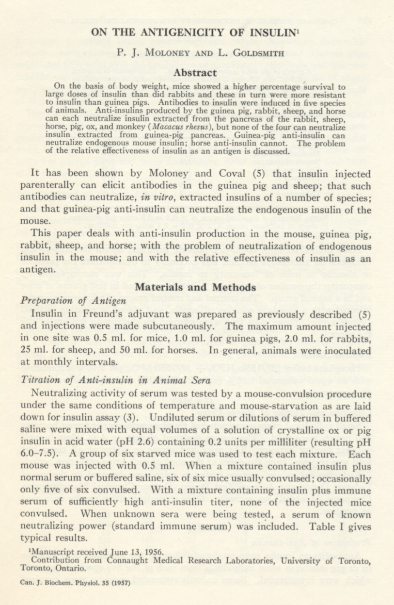 "First page of Dr. Moloney's article, ""On The Antigenicity of Insulin,"" written with L. Goldsmith, and published in the January 1957 edition of the Canadian Journal of Biochemistry and Physiology; full article available at: http://www.nrcresearchpress.com/doi/abs/10.1139/o57-011"