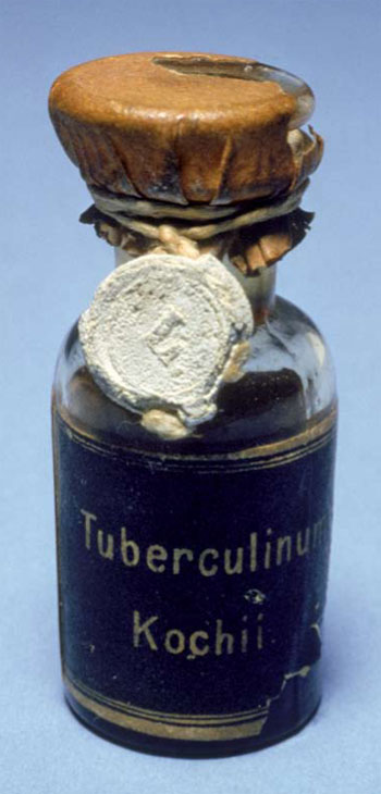 "Vial of ""Koch's Tuberculin"" dating from 1895 and held at the Charité Hospital in Berlin."