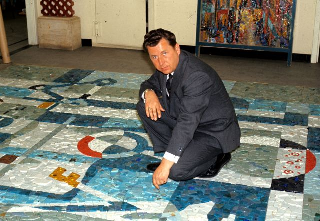 Alexander von Svoboda preparing the mosaic, 1966. For more about Alexander von Svoboda and the story of the Connaught Laboratories mosaic see: http://healthheritageresearch.com/alexvonsvoboda/Connaught/AvS-SPCmosaic.html