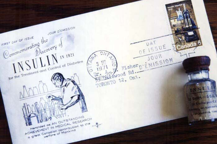 First Day Stamp issued commemorating 50th anniversary of the discovery of insulin, March 3, 1971, photographed with vial of insulin produced by Connaught in 1923.