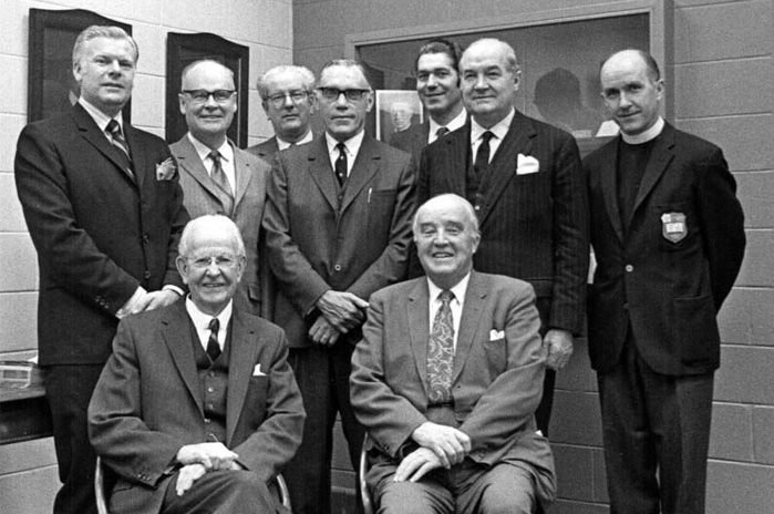 Dignitaries attending the opening of Building 86, November 1970, including in front, Robert D. Defries and Charles Best, co-discover of insulin.