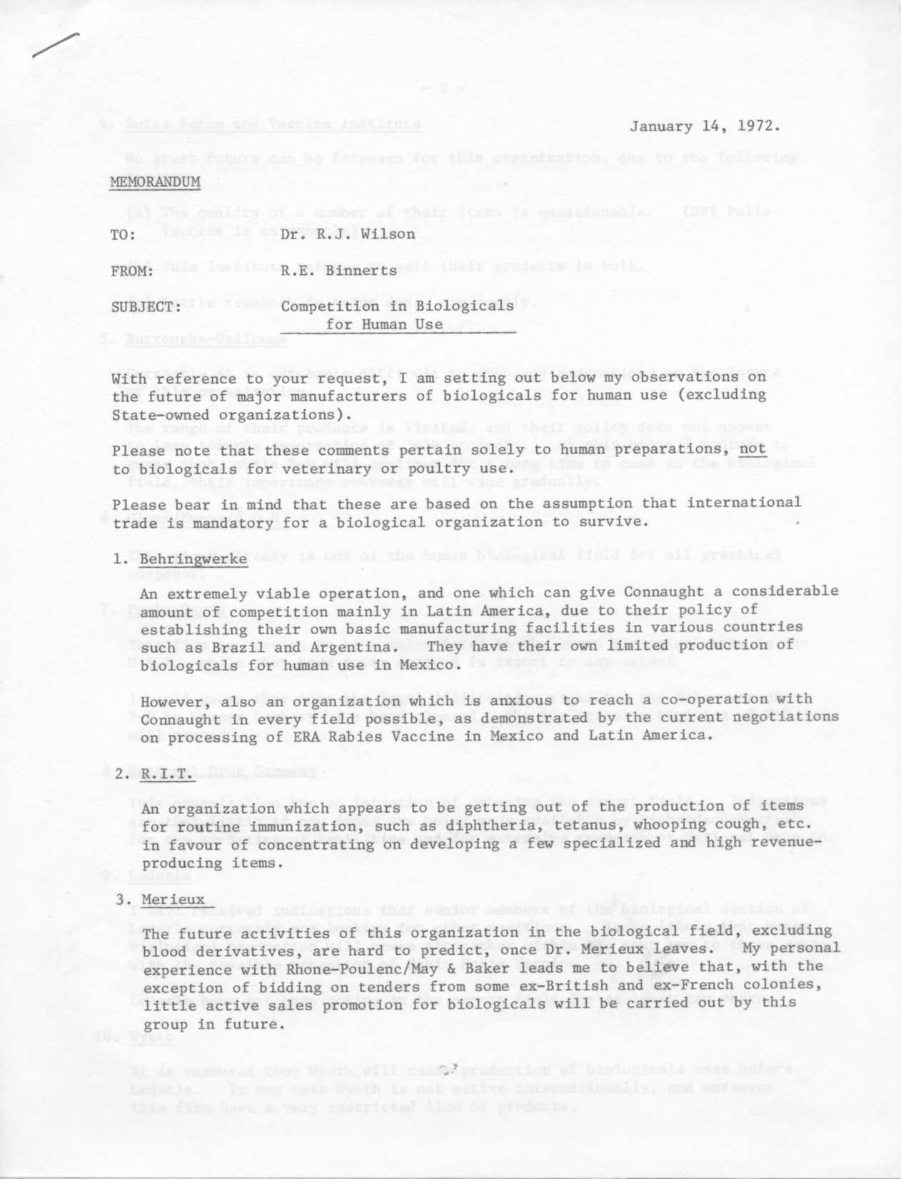 """First page of a Connaught Laboratories memo, dated January 14, 1972, from R.E. Binnerts to R.J. Wilson, entitled """"Competition in Biological for Human Use. Note the summary for """"Mérieux"""". Institut Mérieux, based in Lyon, France, would ultimately acquire Connaught Laboratories in 1989. Full document available at: http://healthheritageresearch.com/clients/docs/UTCF/Article-12/BinnertsRE-Memo-CompetitionBiologicalsHumanUse-1972-01-14-SPCA-CLLgeneral1971-73-Box29.pdf"""