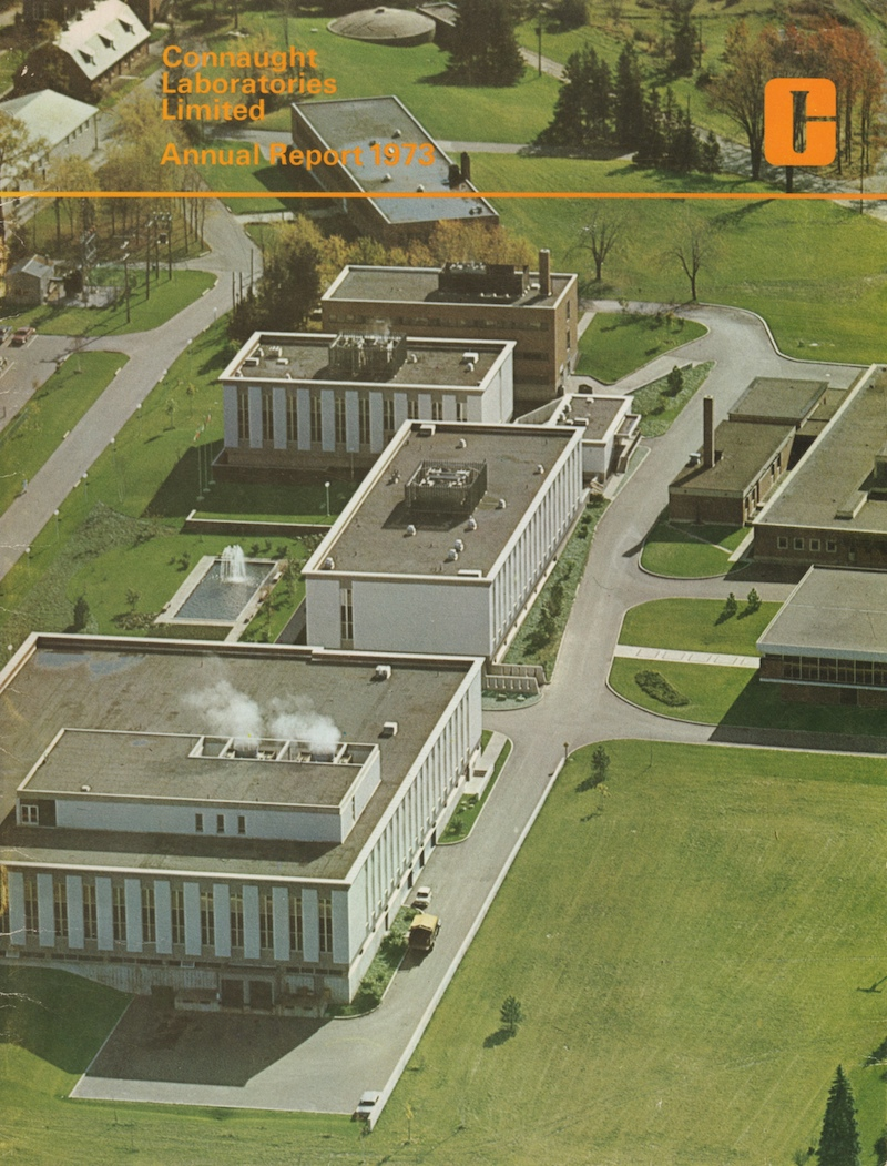 Cover of the first Annual Report of Connaught Laboratories Limited, 1973.