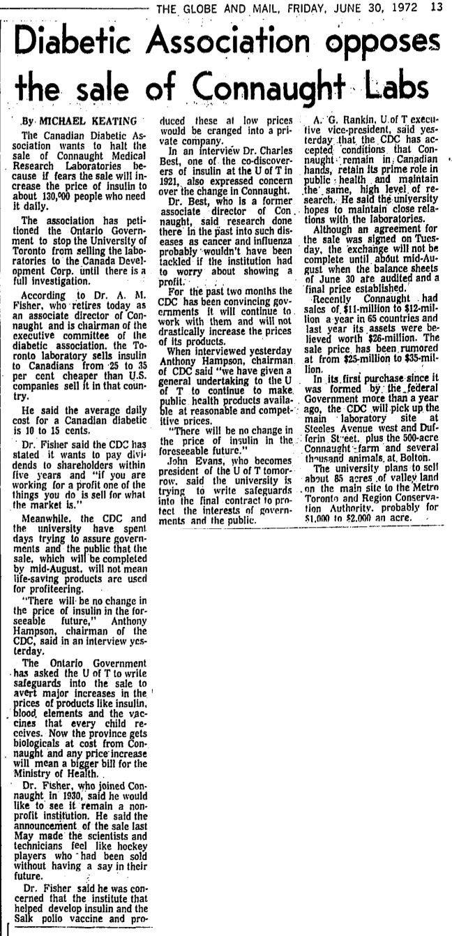 Clipping from The Globe and Mail of June 30, 1972, highlighting some of the anxieties surrounding the sale of Connaught Laboratories to the Canada Development Corporation, particularly with respect to its potential impact on the price of insulin).