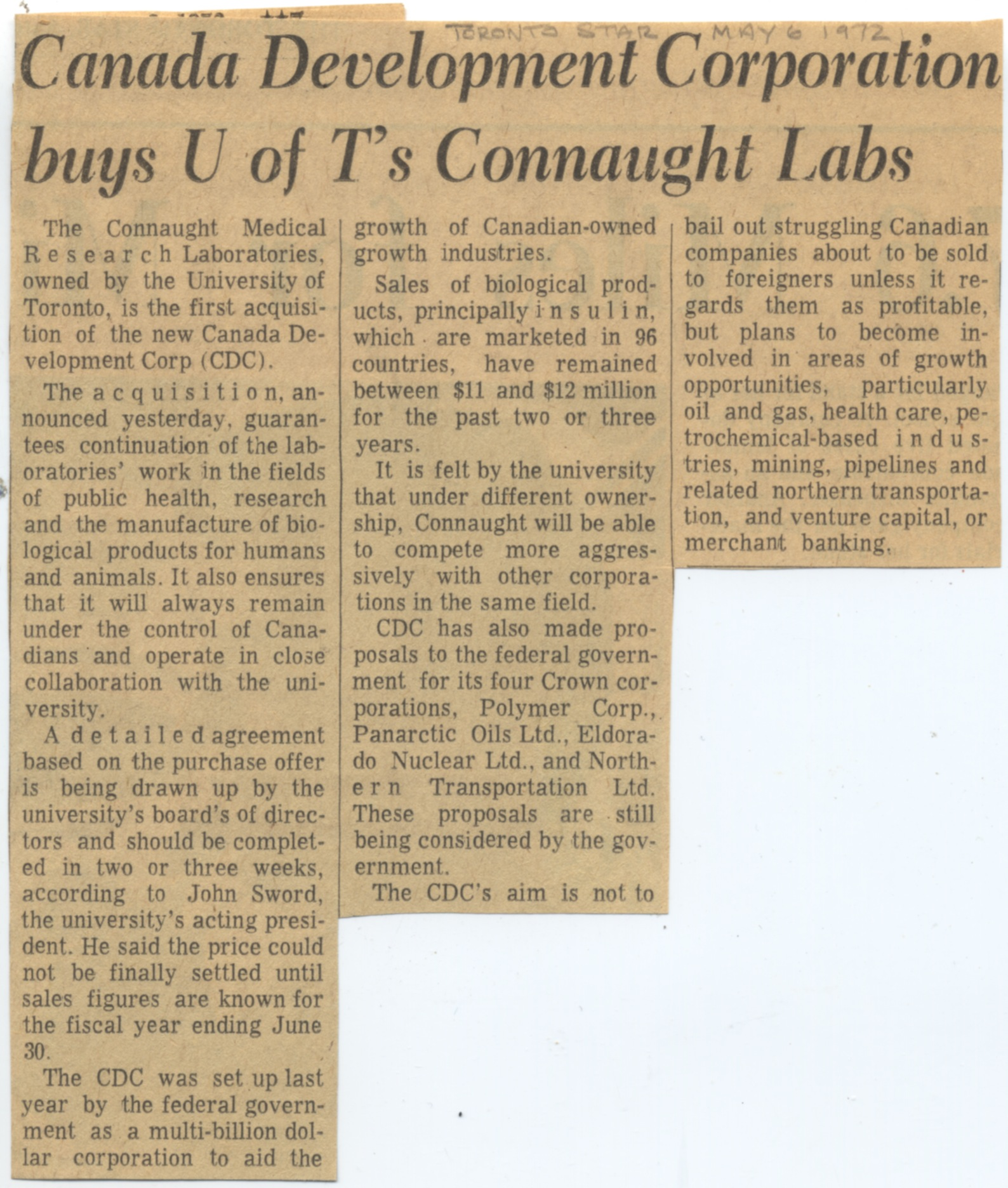 Clipping from the Toronto Star from May 6, 1972, announcing the University of Toronto's intention to accept the Canada Development Corporation's offer to purchase Connaught Laboratories.