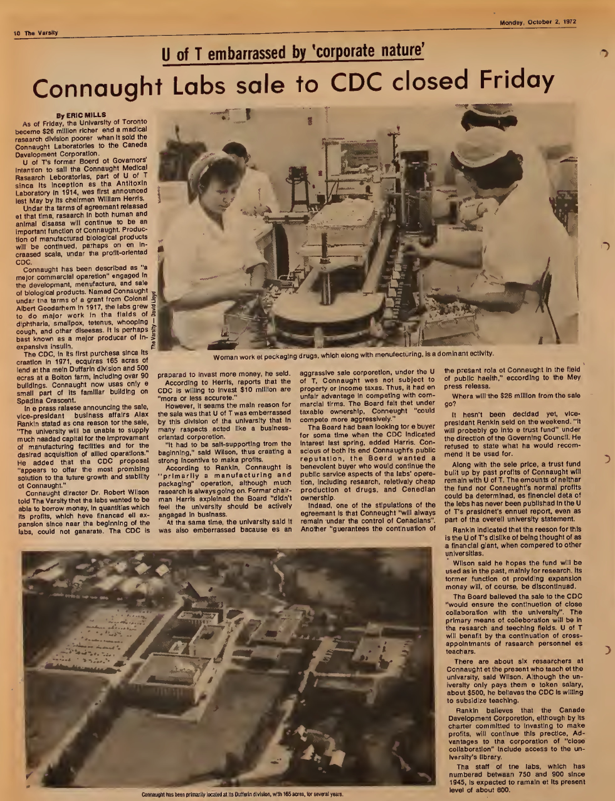 Article from the October 2, 1972 edition of The Varsity, the University of Toronto student newspaper, announcing that the University's sale of Connaught Laboratories to the Canada Development Corporation, for a sum of about $26 million, had closed.