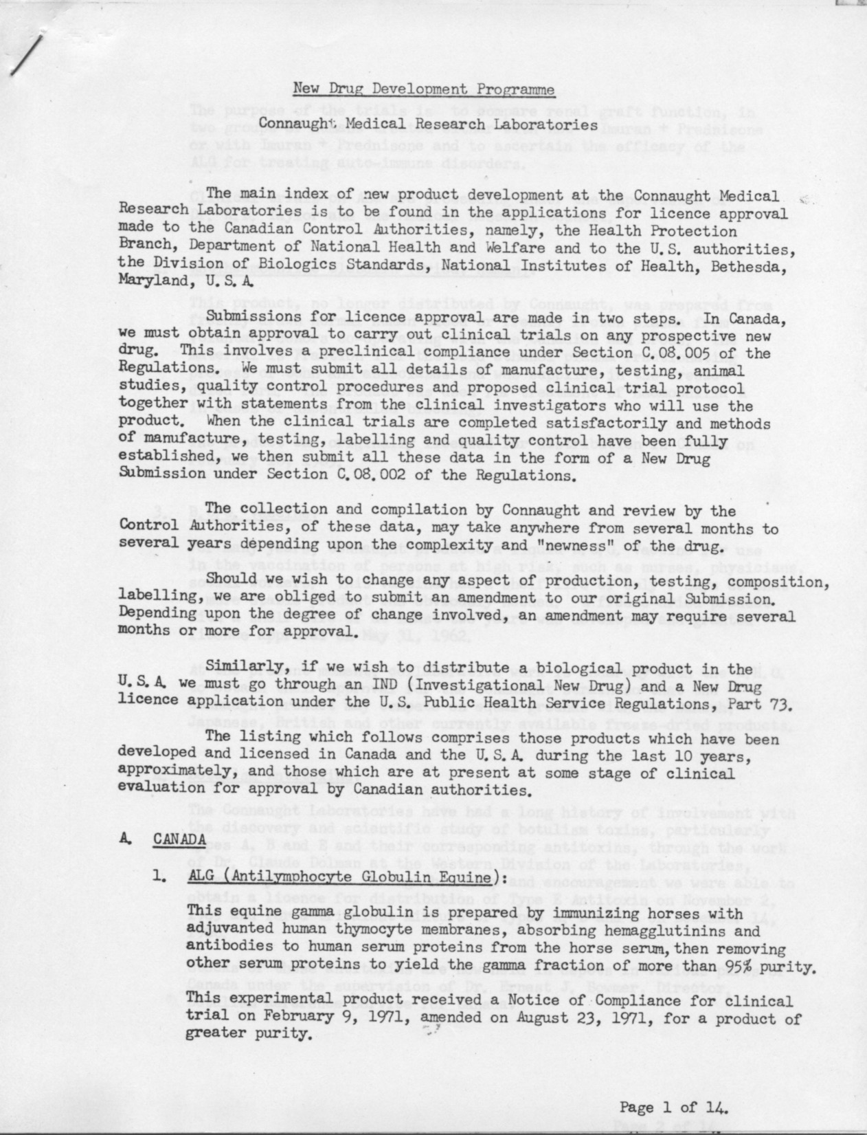 "First page of a Connaught Laboratories report, dated March 16, 1972, prepared by J.C.W. Weber and W.R. Ashford, entitled ""New Drug Development Programme,"" which describes the broad range of vaccines and other biological health products produced by, or in development at Connaught. Full document available at: http://healthheritageresearch.com/clients/docs/UTCF/Article-12/Weber-Ashford-CMRL-NewDrugDevelopmentProgram-1972-03-16-SPCA-CLLgeneral1971-73-Box29.pdf"